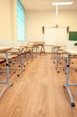 classroom with chairs and desks