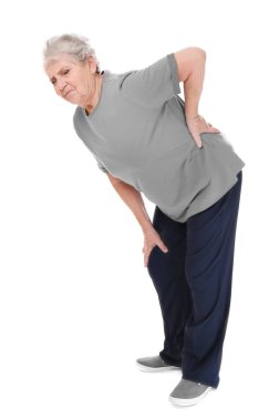 Elderly woman suffering from backache on white background