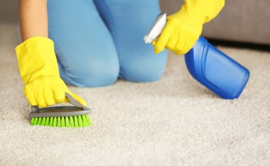 woman cleaning carpet at home