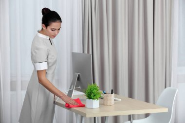 Female chambermaid cleaning