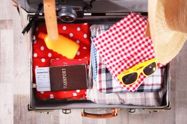 Packed traveller suitcase