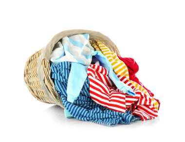 Clothes in wicker basket