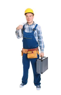 Electrician with tool box on white background