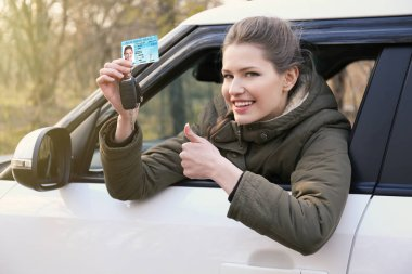 Woman with driving license