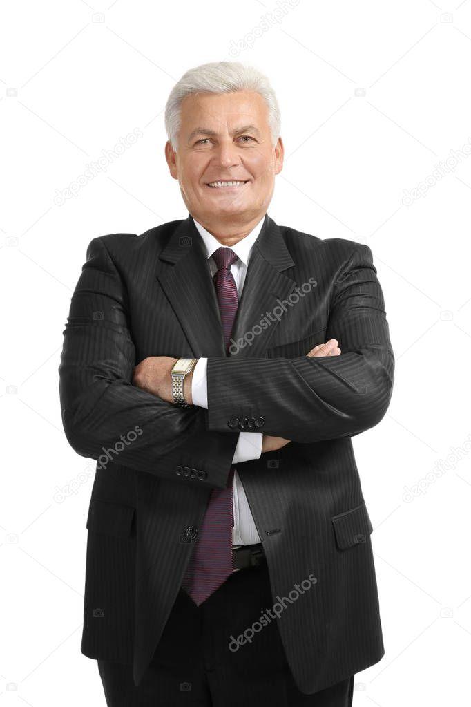 Senior man in black suit
