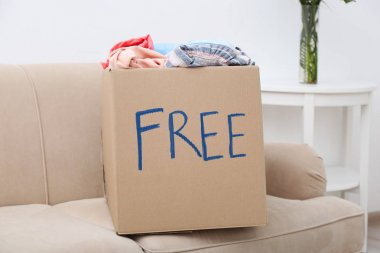 box with clothing on sofa
