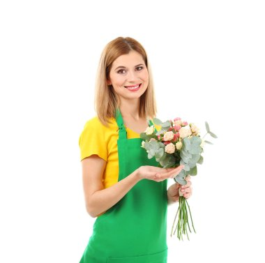 woman florist holding flower bouquet