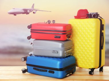 Suitcases in airport terminal