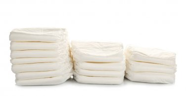 Baby diapers on white