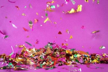 Colorful confetti falling