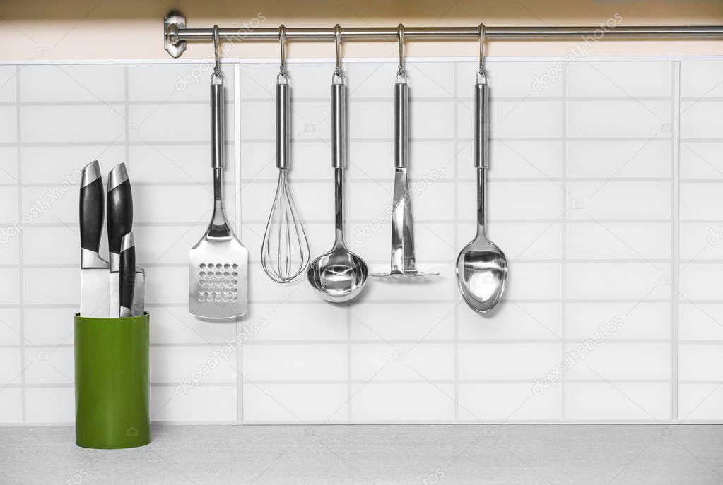 Set of metal kitchen utensils