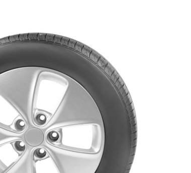 Car wheel on white