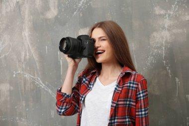 Beautiful young photographer