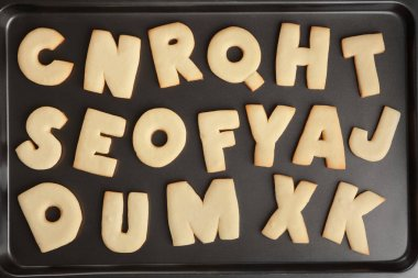 Cookie alphabet on tray