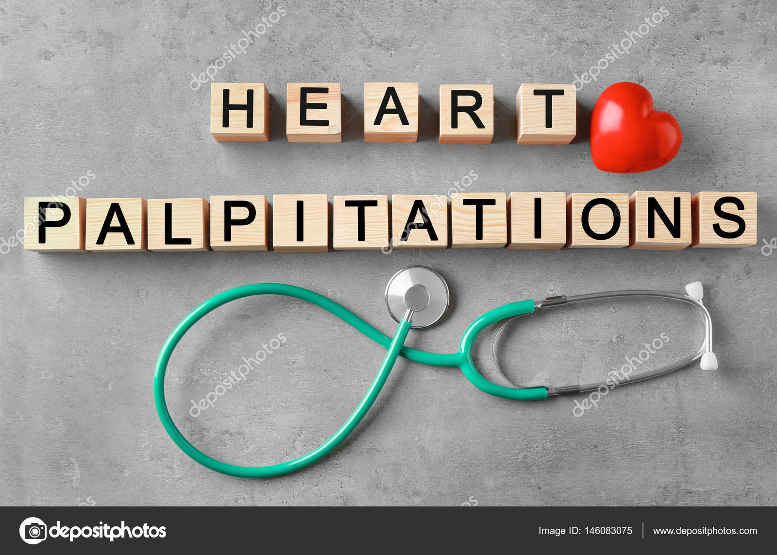 Text HEART PALPITATIONS made of wooden cubes and stethoscope