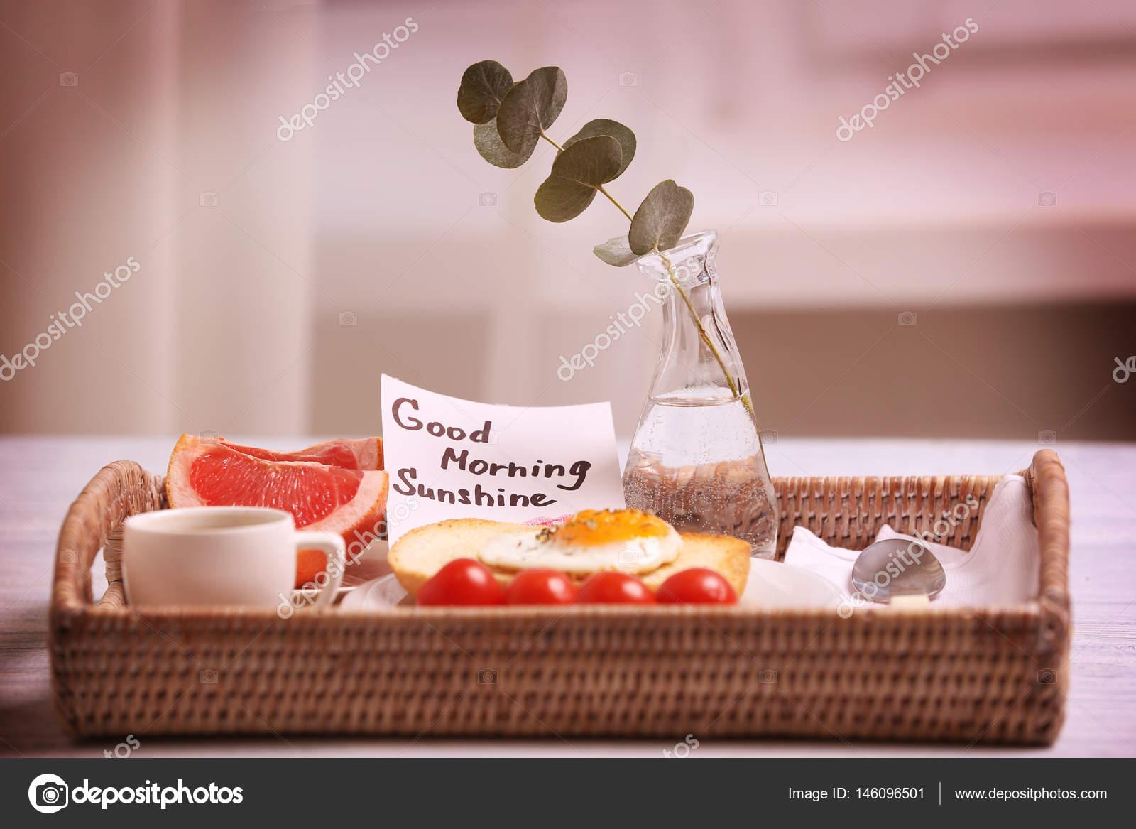 Frühstück Und Guten Morgen Gruß Hinweis Stockfoto Belchonock