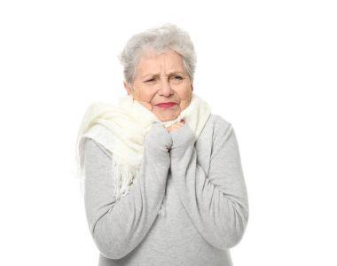 elderly woman feeling cold