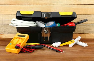 Box with electrician tools