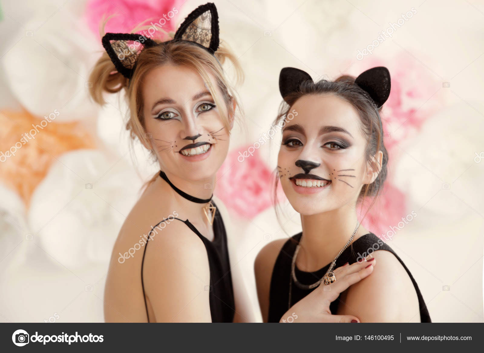 Young Women With Cat Makeup Stock Photo C Belchonock 146100495