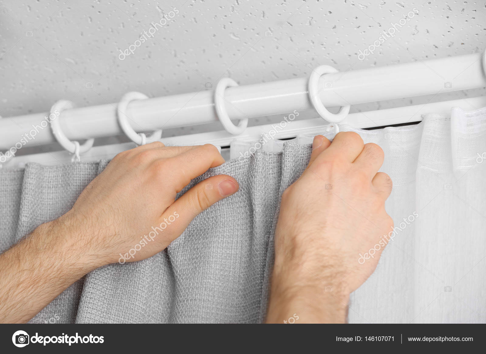 Hands Installing Curtains U2014 Stock Photo #146107071