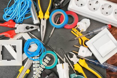 Different electrician tools
