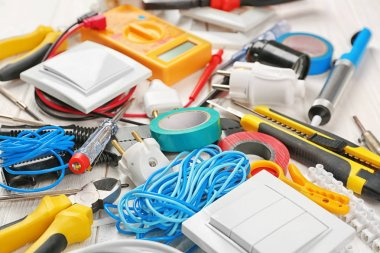 view of electrician tools