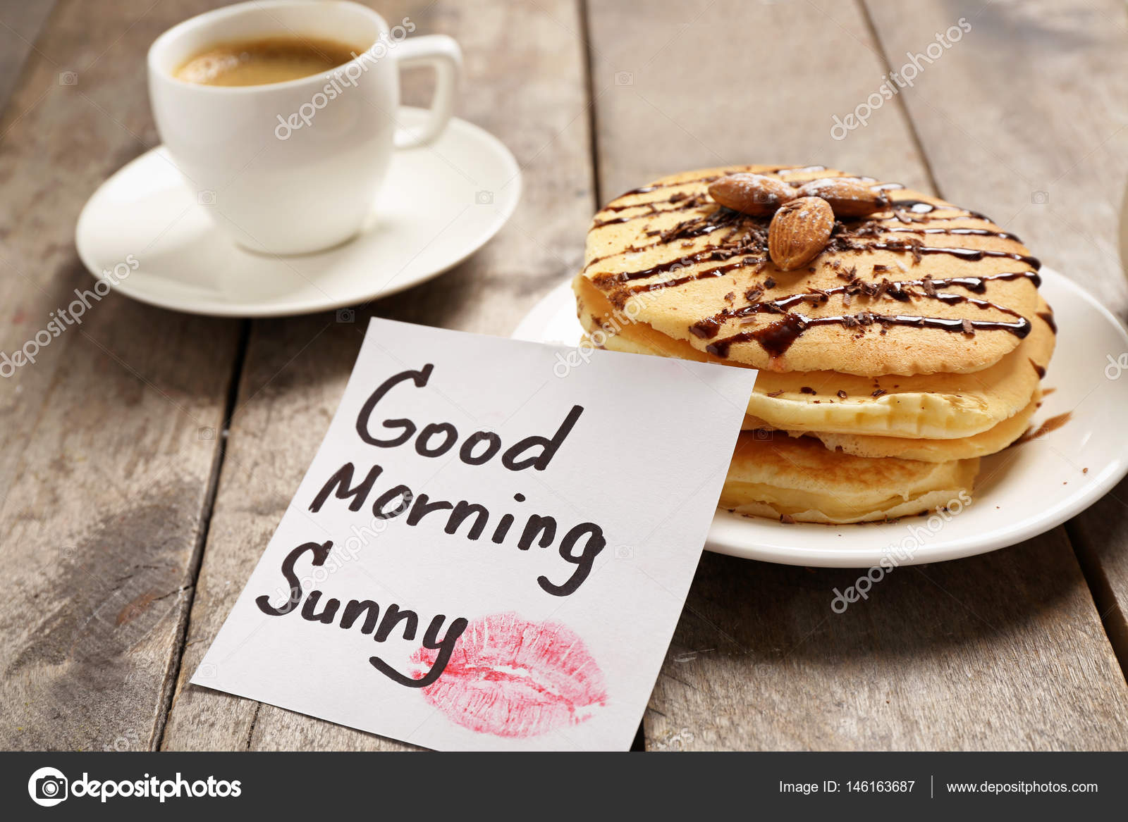 Breakfast And Good Morning Greeting Note Stock Photo Belchonock