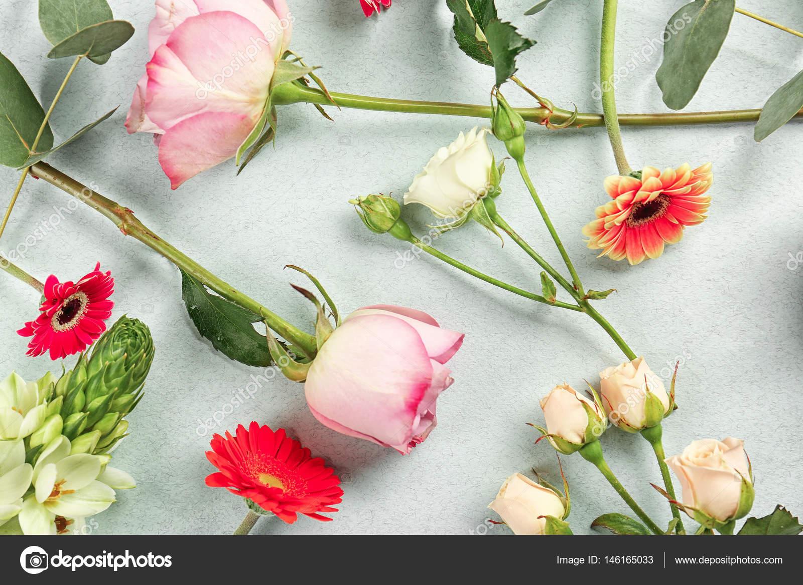 Beautiful fresh flowers stock photo belchonock 146165033 beautiful fresh flowers on color background photo by belchonock izmirmasajfo Gallery