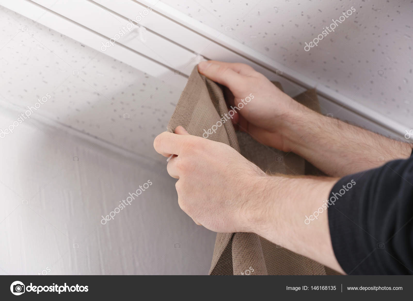 Hands Installing Curtains U2014 Stock Photo #146168135