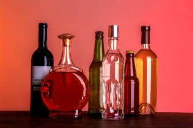 Different bottles of wine and spirits