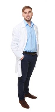Handsome doctor on white