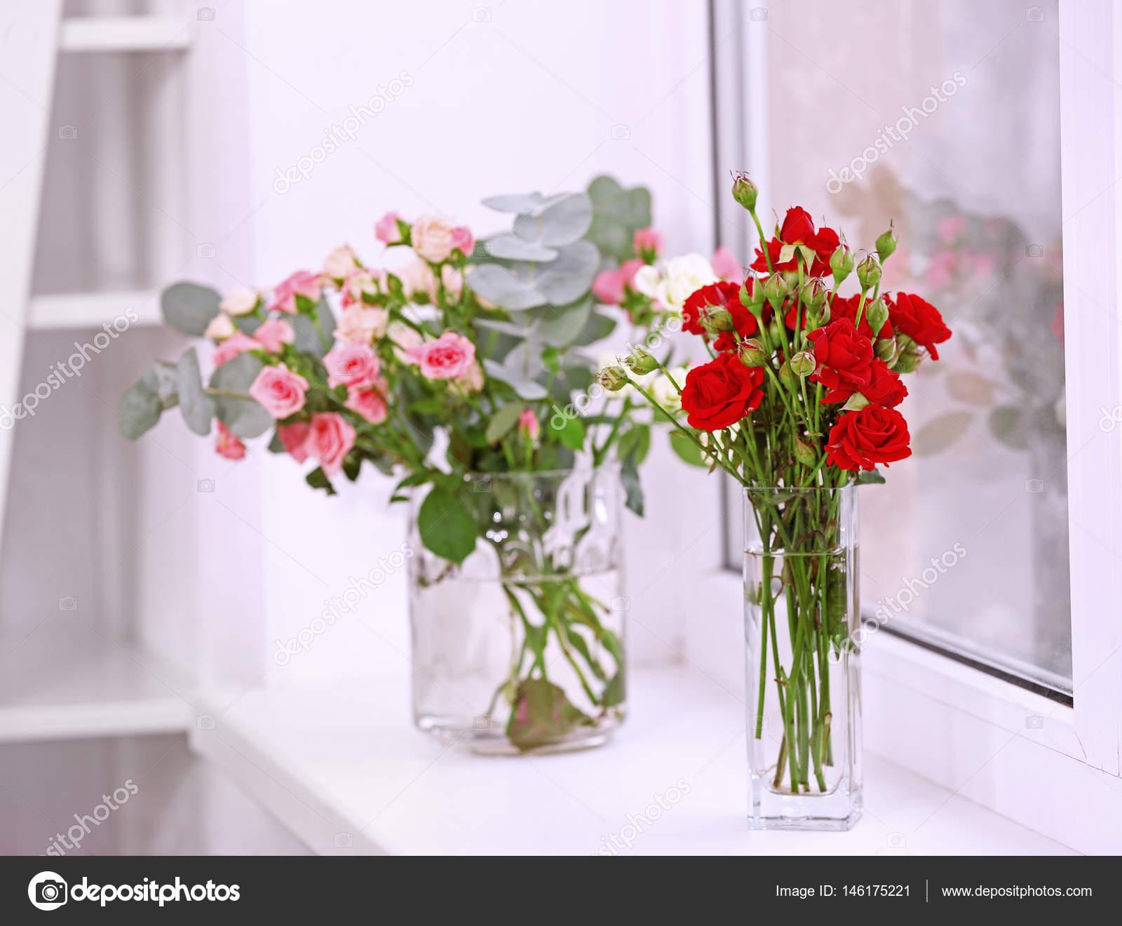 Beautiful Roses In Glass Vases Stock Photo Belchonock 146175221