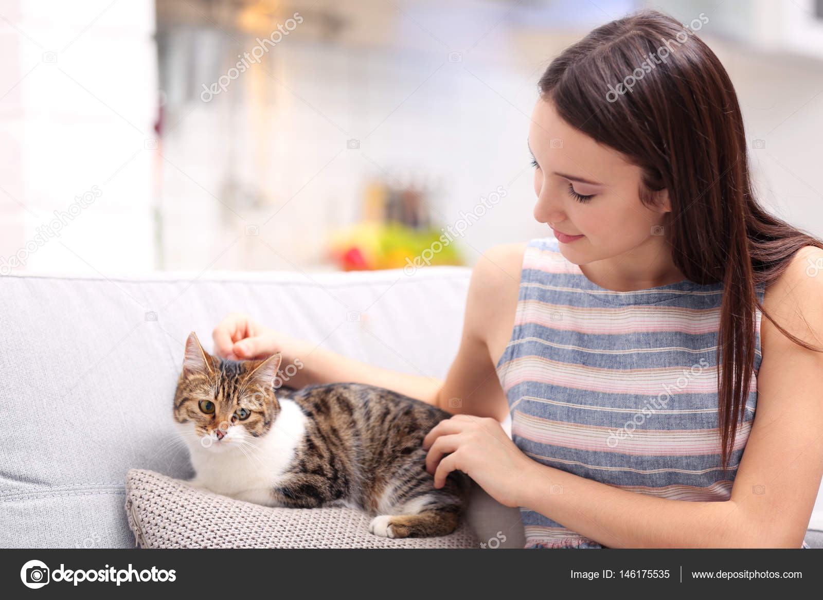 Beautiful Young Woman With Cute Cat At Home Stock Photo C Belchonock 146175535