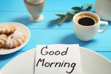 breakfast and GOOD MORNING greeting note