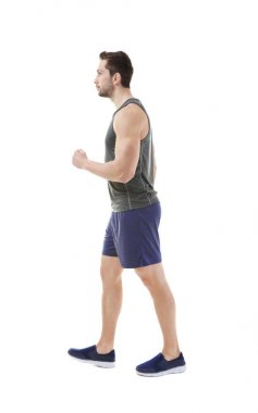 Incorrect posture concept. Man in sport wear isolated on white