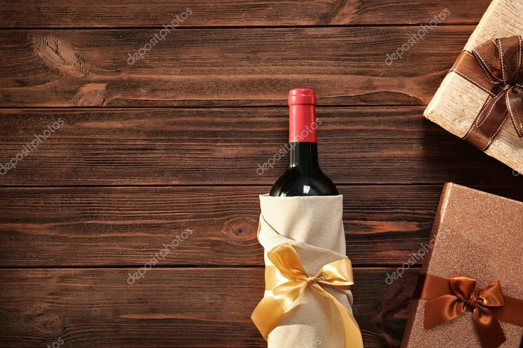 Decorated wine bottle and gift boxes