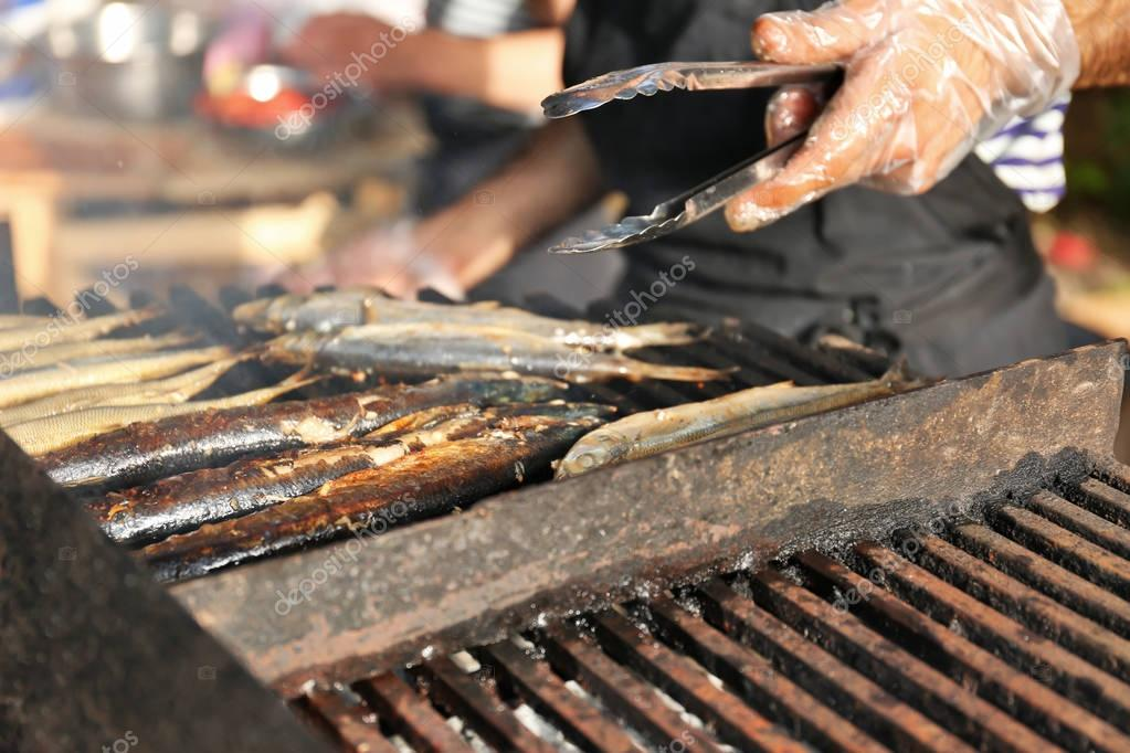 Grilled fish on brazier