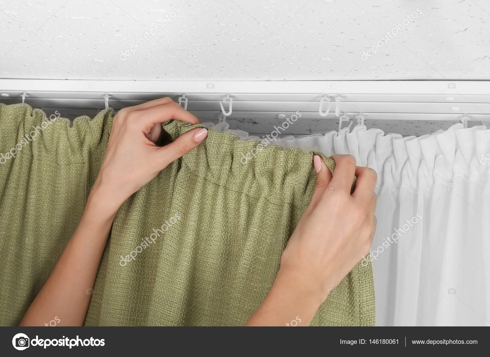 Hands Installing Curtains U2014 Stock Photo #146180061