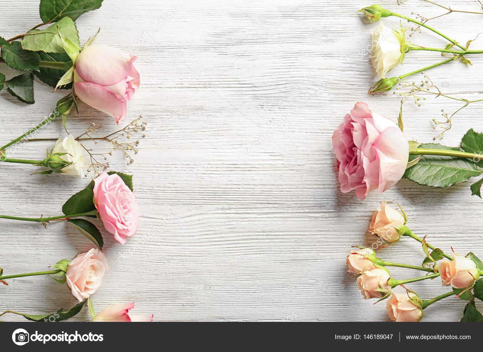 Beautiful fresh flowers stock photo belchonock 146189047 beautiful fresh flowers on white wooden background photo by belchonock izmirmasajfo Gallery