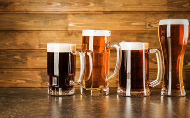 Glasses with cold beer