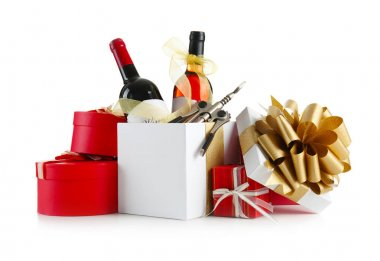 Decorated wine bottles and gift boxes