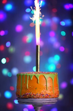 delicious cake with sparkler