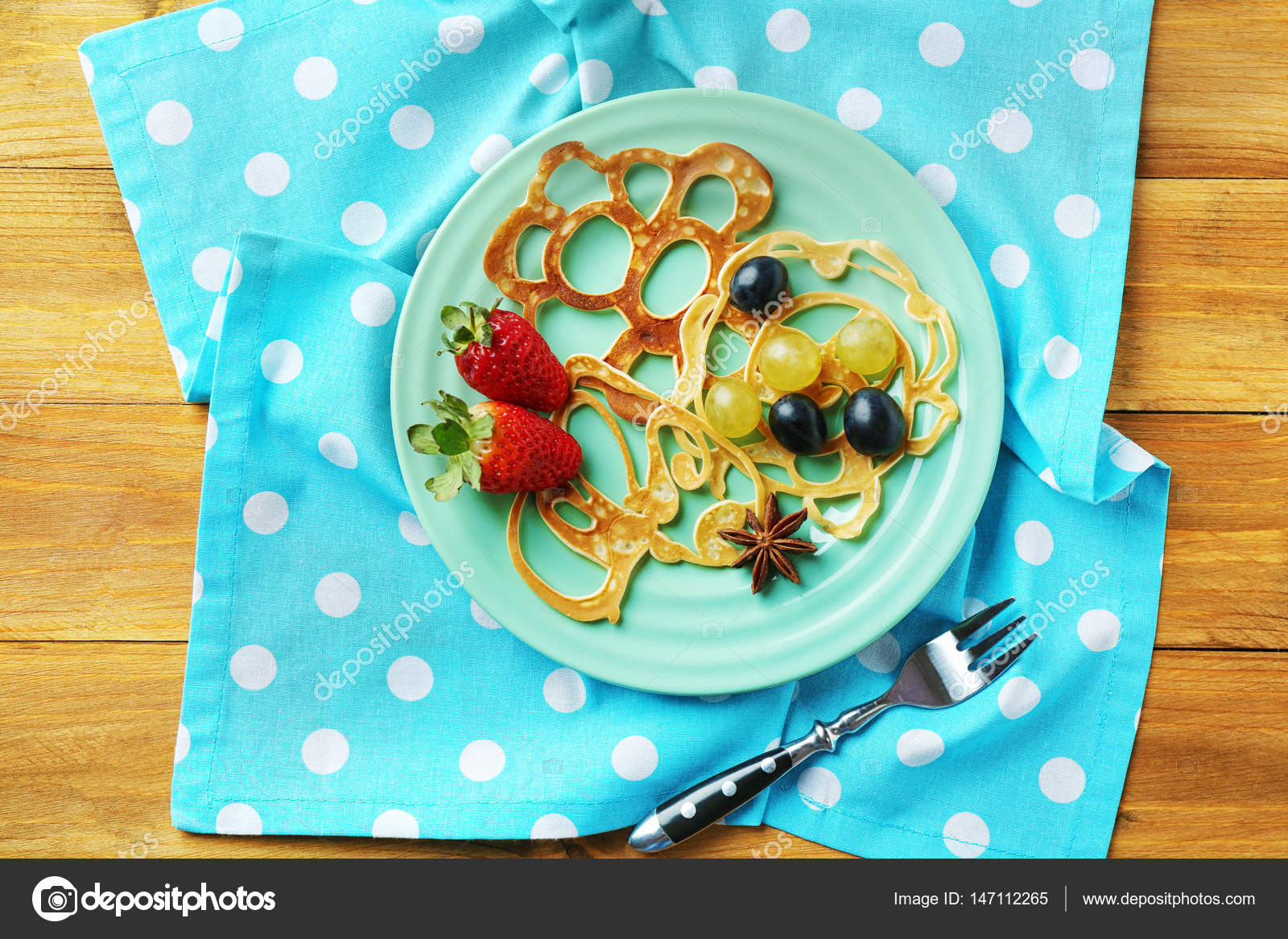 plate with Creative pancakes Stock Photo belchonock 147112265
