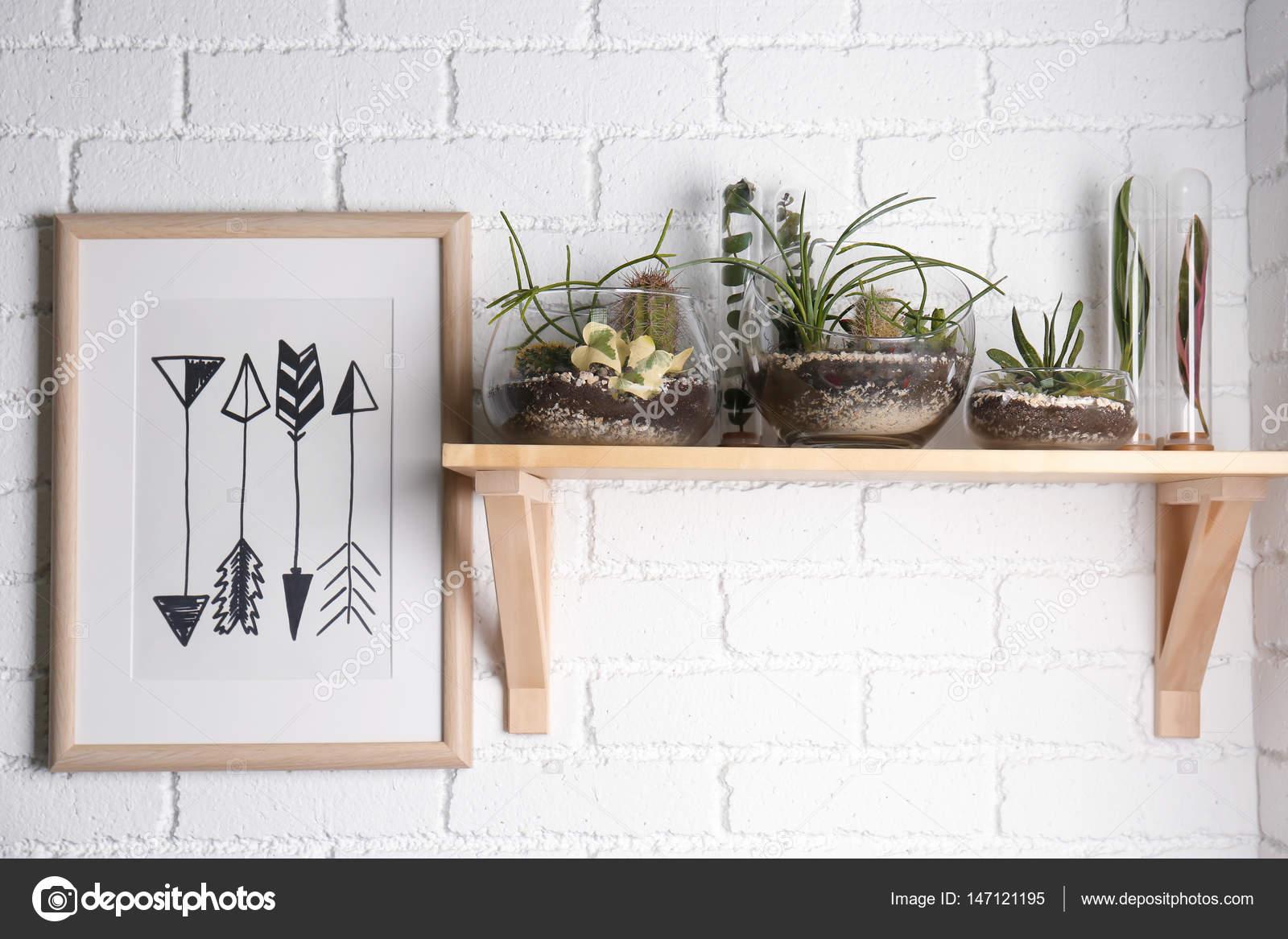 Florarium in vasi di vetro con piante grasse u foto stock