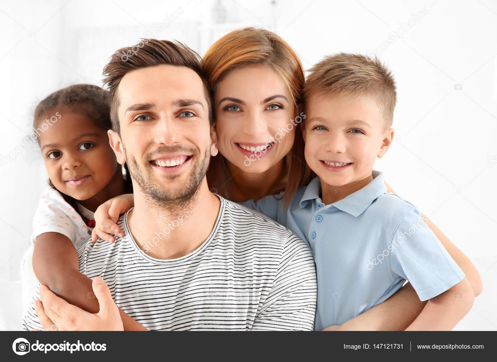 Interracial family photos for