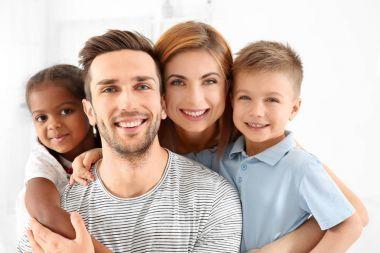 Happy interracial family