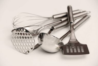 Set of metal kitchen utensils
