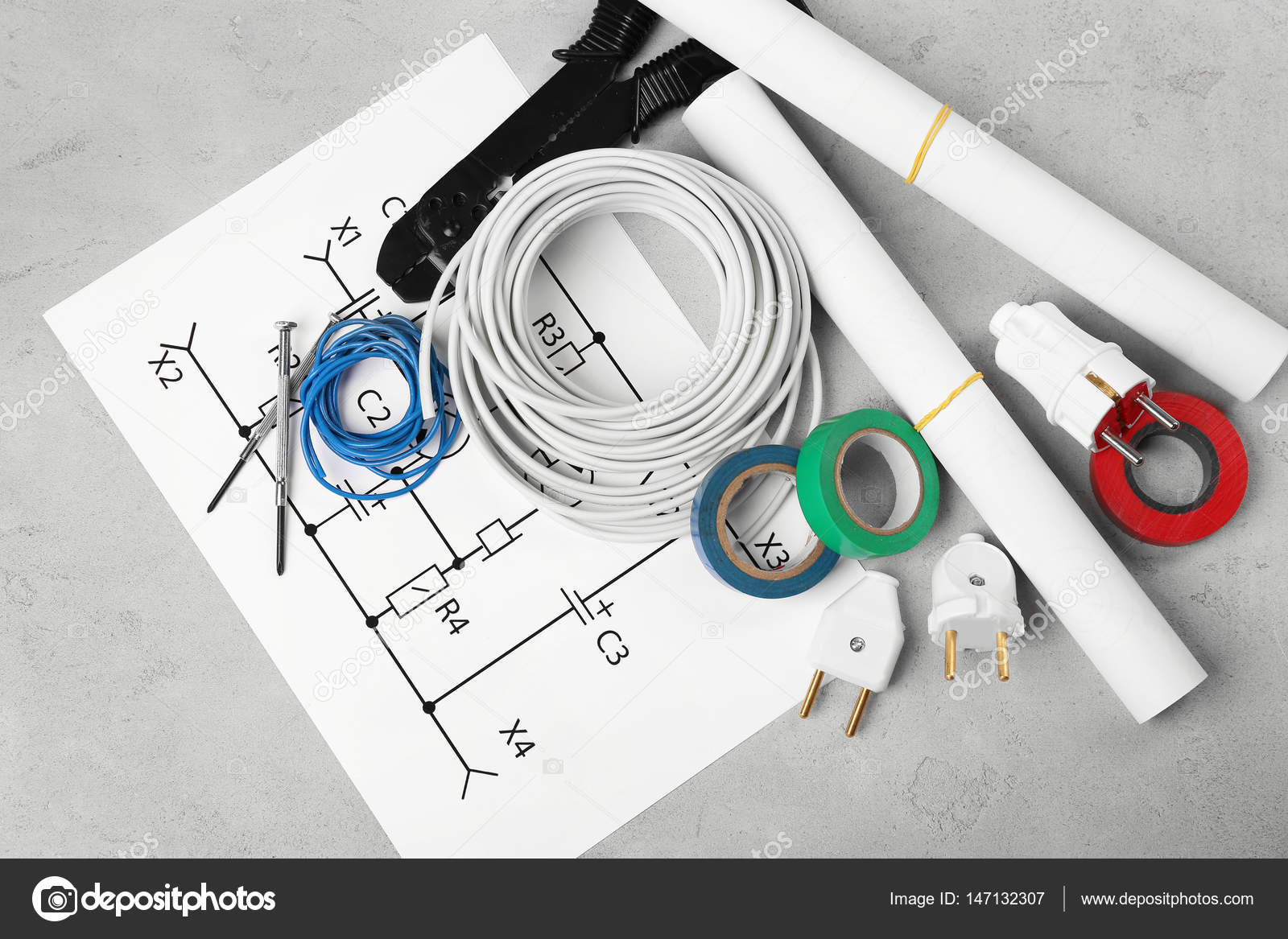 Electrician tools and schemes Stock Photo belchonock 147132307