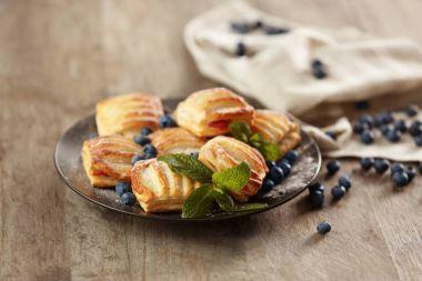 Sweet tasty pastries with bilberries