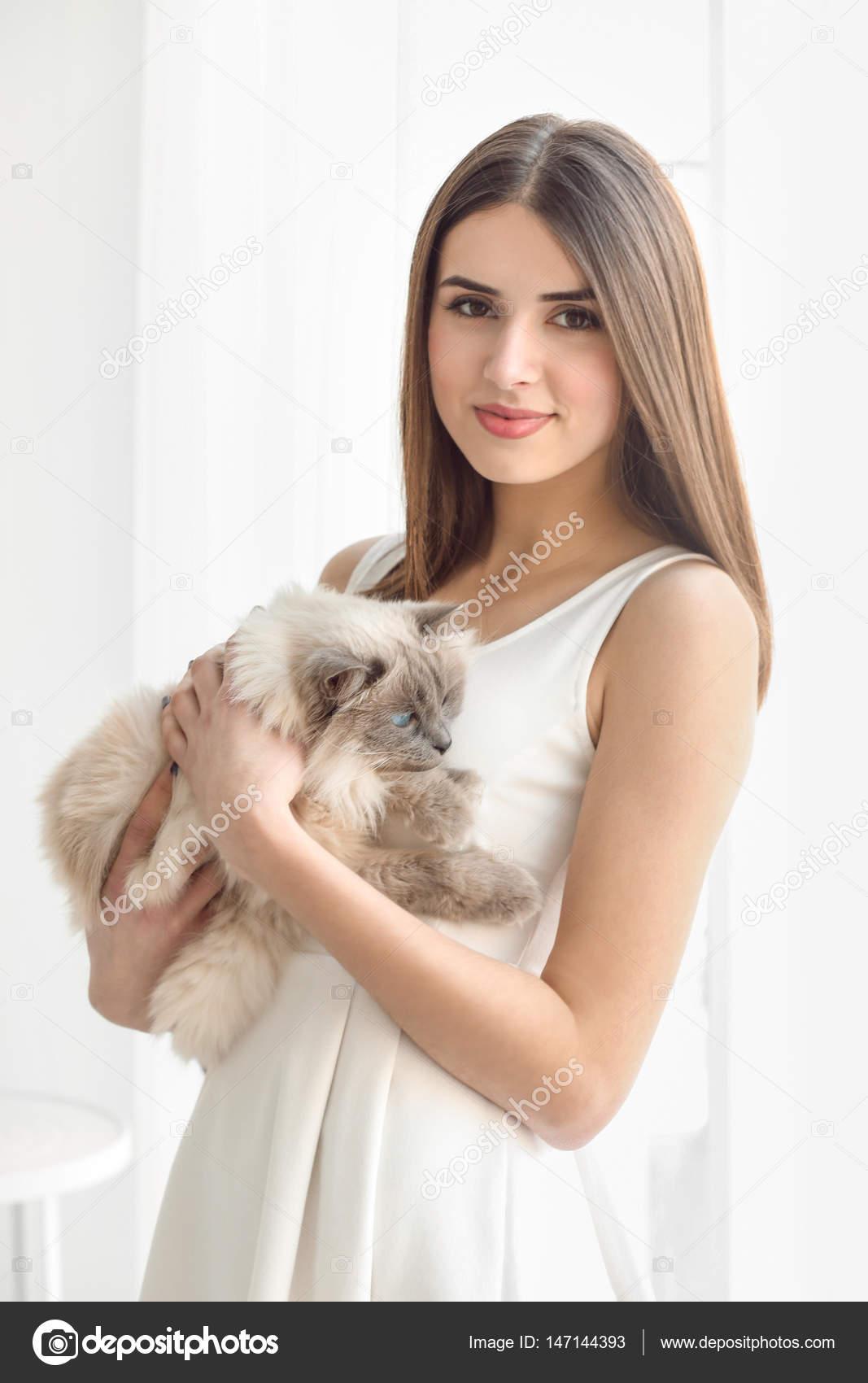 Beautiful Woman With Cute Cat Stock Photo C Belchonock 147144393